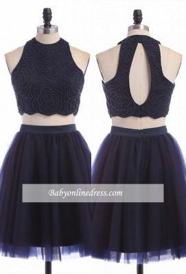 Zipper Mini Sexy Sleeveless Jewel Two-Piece Homecoming Dress_1