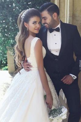 Elegant New Tulle Square Sleeveless Appliques Wedding Ball Dresses_4