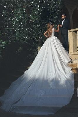 Elegant New Tulle Square Sleeveless Appliques Wedding Ball Dresses_3