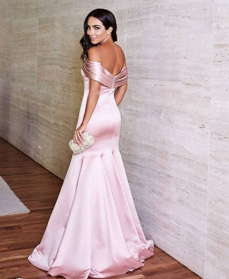 Glossy Pink Mermaid Prom Dresses Off-the-Shoulder Evening Gowns_3