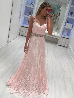 Elegant Pink Lace Prom Dresses | Straps Beading A-line Evening Gowns_2