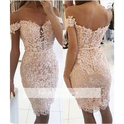 Sexy Short Sheath Off-the-Shoulder Lace Buttons Homecoming Dress_1