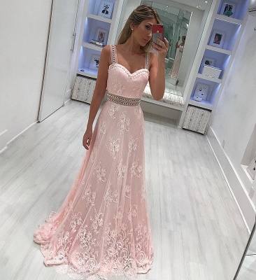 Elegant Pink Lace Prom Dresses | Straps Beading A-line Evening Gowns_3