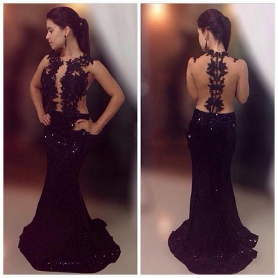 Black Lace Sequins Prom Dresses Mermaid Long Formal Dress_3