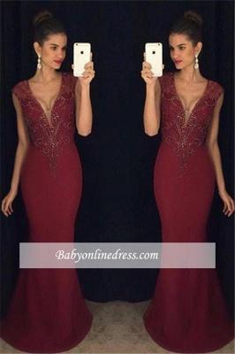 Beadings Gorgeous Burgundy Sleeveless Mermaid Prom Dress_1
