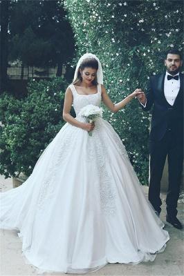 Elegant New Tulle Square Sleeveless Appliques Wedding Ball Dresses_2