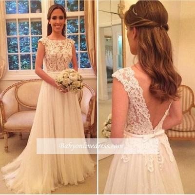 Elegant A-Line Zipper-Back Button Lace Tulle Wedding Dresses_1