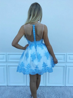 Chic Scoop Sleeveless A-Line Homecoming Dresses | Lace Appliques Short Cocktail Dresses_3