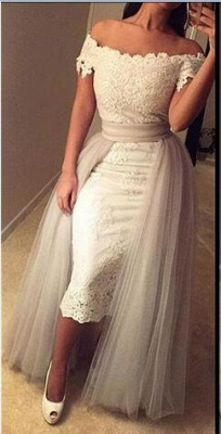 Mini Sheath Lace Off-the-Shoulder Prom Dress with Detachable Skirt_1