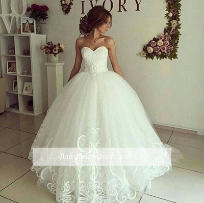 Elegant Ball-Gown Sweetheart-Neck Appliques Wedding Dresses_1