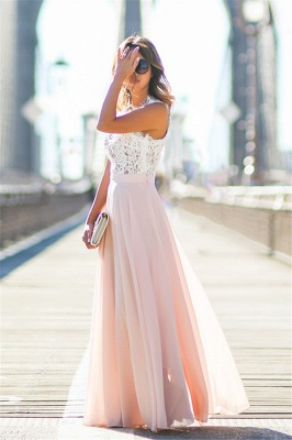 Elegant Lace Top Evening Gowns A-Line Sleeveless Pink Long Prom Dress_6
