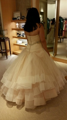 Tiered Exquisite Crystal-Sashes Sweetheart Tulle Sleeveless Ball-Gown Wedding Dresses_3