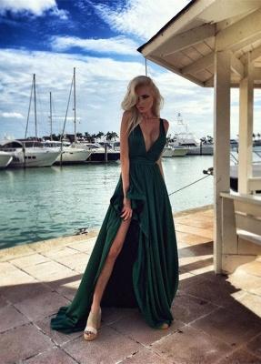 Elegant Long Split Green Prom Dresses V Neck Party Gown_1