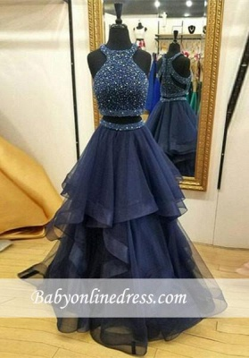 Jewel Two-Piece Sleeveless Ruffles Modest Zipper Crystals Prom Dress_3