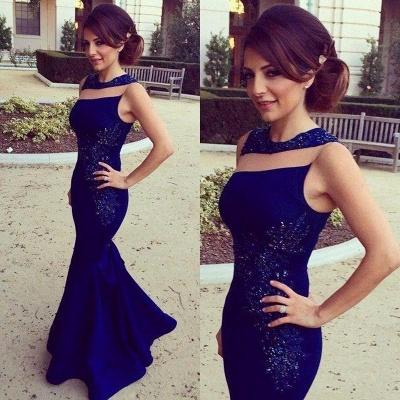 Royal Blue Prom Dresses Sleeveless Lace Stylish Long Mermaid Evening Gowns_3