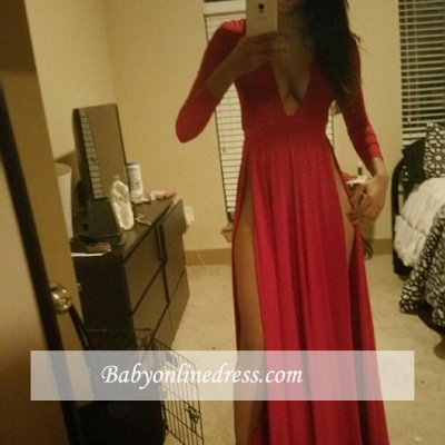 2018 Red V-neck Evening Gowns Front-Split Long-Sleeve Prom Dress_3