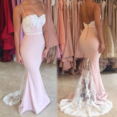 Cheap Mermaid Lace Spaghetti Straps Backless Buttons Formal Evening Dress_5