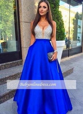 Royal-Blue Sleeveless V-Neck Puffy Beaded Prom Dresses with Pockets_3