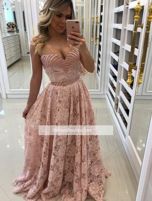Sheath Sweetheart Pink Long Elegant Lace Prom Dresses_1
