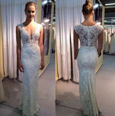 Modest Long Lace V-neck Wedding Dress Sleeveless Zipper Bridal Gowns_3