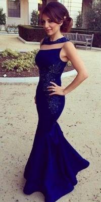 Royal Blue Prom Dresses Sleeveless Lace Stylish Long Mermaid Evening Gowns_1