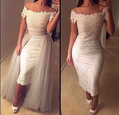 Mini Sheath Lace Off-the-Shoulder Prom Dress with Detachable Skirt_3