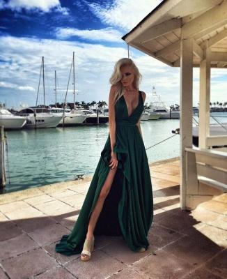 Elegant Long Split Green Prom Dresses V Neck Party Gown_3