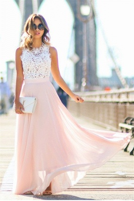 Elegant Lace Top Evening Gowns A-Line Sleeveless Pink Long Prom Dress_5
