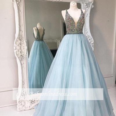 Tulle V-neck Crystals Stunning A-line Sleeveless Zipper Prom Dress_1