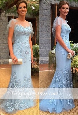 2018 Sweep-Train Cap-Sleeves Appliques Sheath Mother of the Bride Dress_1