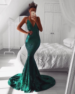 Sparkly Sequins Mermaid Evening Dresses | Sexy Spaghetti Straps Long Prom Dresses_3