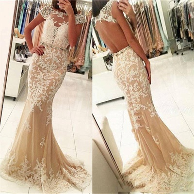 2018 Short Sleeve Mermaid Lace Long Beads Crystals Prom Dress_4