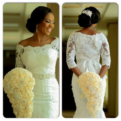 Lace Mermaid Wedding Dresses Half Long Sleeves Off the Shoulder Beaded Elegant Bridal Gowns_3