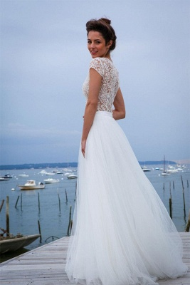 Short-Sleeves A-line V-neck Modern Tulle Simple Wedding Dresses_3