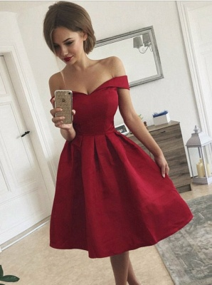 Exquisite Burgundy A-Line Homecoming Dresses | Off-The-Shoulder Short Cocktail Dresses_1