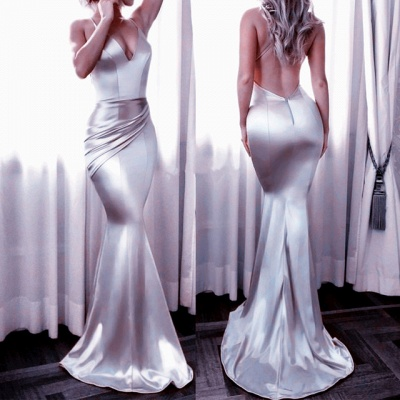 Shiny Silver Backless Evening Gowns | Spaghettis Straps V-Neck Formal Dress_3
