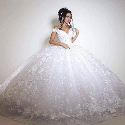 Off the Shoulder Floral Lace Appliques Gorgeous Ball Gown Wedding Dresses_3