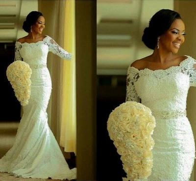 Lace Mermaid Wedding Dresses Half Long Sleeves Off the Shoulder Beaded Elegant Bridal Gowns_5