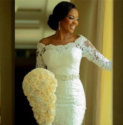 Lace Mermaid Wedding Dresses Half Long Sleeves Off the Shoulder Beaded Elegant Bridal Gowns_4
