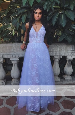 2018 A-line White Lace Sleeveless V-neck Newest Prom Dress_1