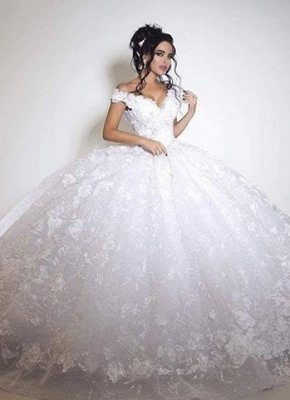 Off the Shoulder Floral Lace Appliques Gorgeous Ball Gown Wedding Dresses_1