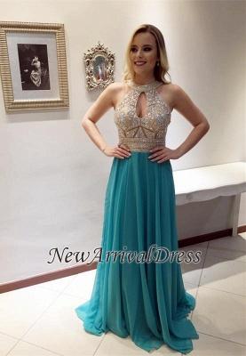 Glamorous A-line Zipper Keyhole Chiffon Sleeveless Prom Dress with Beadings_3