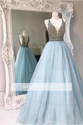 Tulle V-neck Crystals Stunning A-line Sleeveless Zipper Prom Dress_3