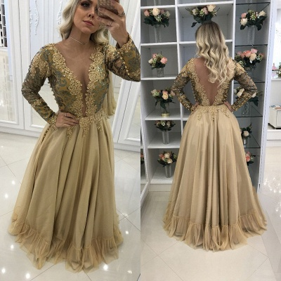 V-Neck Floor-Length Lace Sleeves Long Chic Prom Dresses_3