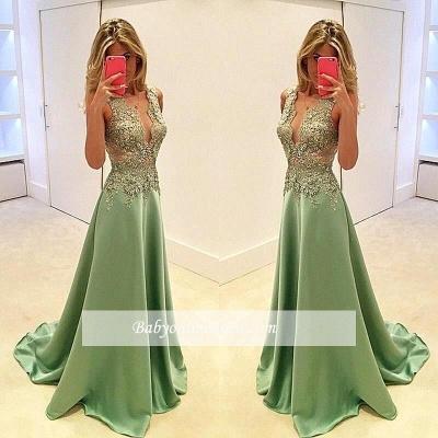Long V-neck Sleeveless A-line 2018 Appliques Evening Dresses_3