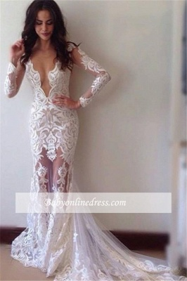 Glamorous Sexy Appliques Long-Sleeves Lace Sheath Prom Dress_1