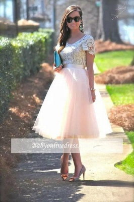 Lace Tea-Length Tulle Short-Sleeves A-Line Homecoming Dress_3