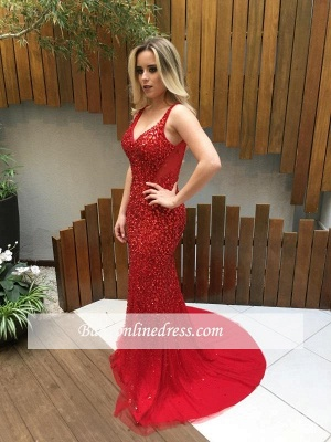 Backless Long Crystals Red V-Neck Mermaid Prom Dresses_1