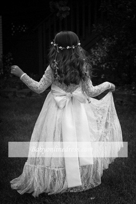 Modern Flower Length A-line Lace Long-Sleeve Jewel Flower Girl Dress with Bow_1