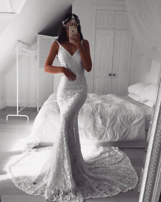 Sexy Lace Mermaid Wedding Dresses | Spaghetti Straps Open Back Long Bridal Gowns_4